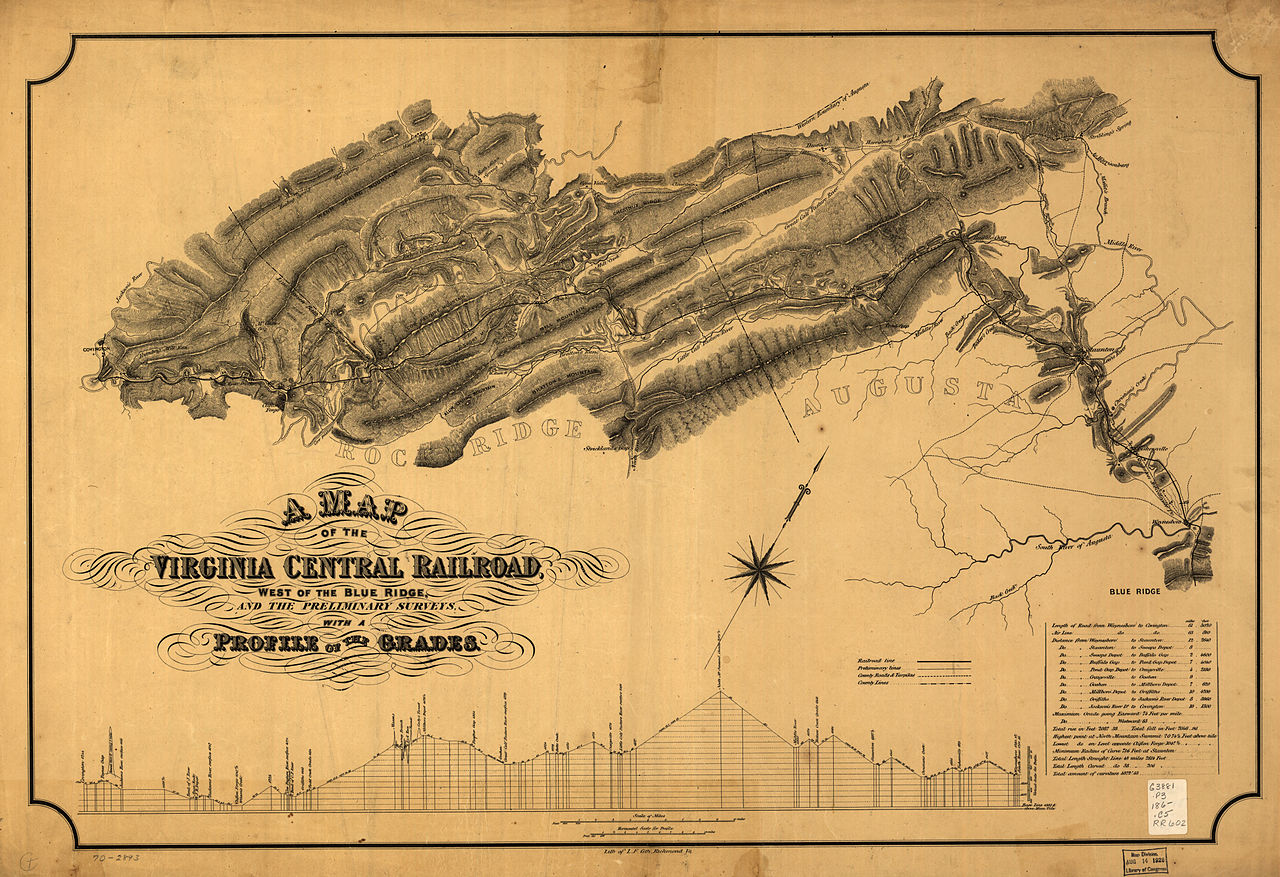 File Map Of The Virginia Central Railroadjpg Wikimedia Commons - Map us railroads 1860