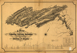 Virginia Central Railroad - 1860 map of the Virginia Central Railroad west of the Blue Ridge