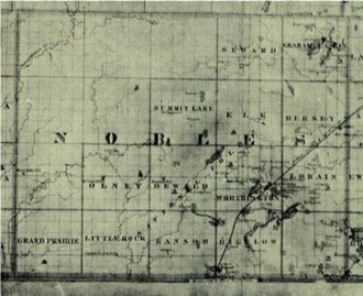 Nobles County, Minnesota - 1874 map of Nobles County - Note that six of the townships had yet to be named