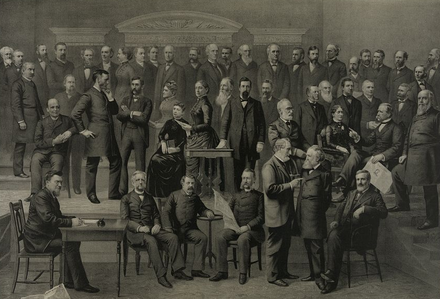 1884 National Prohibition Convention in Lafayette Hall, Pittsburgh, Pennsylvania. 1884 Prohibition Party Convention.png