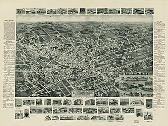 Hicksville, New York - Panoramic map of Hicksville from 1925 with list of landmarks and images of several inset
