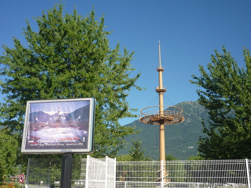 Pylon of the 1992 Winter Olympics opening ceremony, Albertville, Savoie, France
