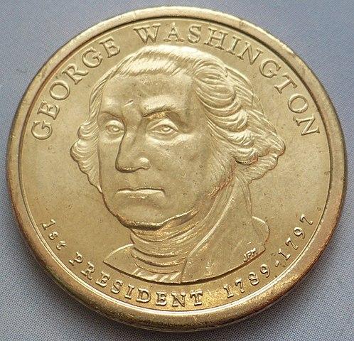 Дж. Вашингтон на памятной монете 1 доллар