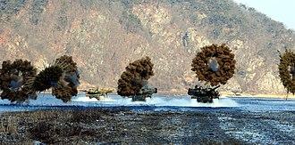 K2 Black Panther - K-2 tanks deploy smoke grenades during a manoeuvre drill.