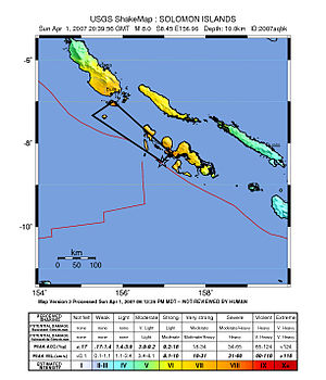 2007 Solomon Islands earthquake - ShakeMap showing the mainshock intensity