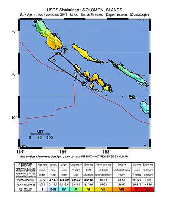 2007 Solomon Islands earthquake - ShakeMap showing the mainshock intensity