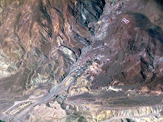 Calico, San Bernardino County, California - Aerial view of Calico, with the hillside letters visible.