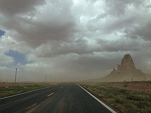 2013-09-22 13 28 23 View north along U.S. Route 163 towards Agathla Peak.JPG