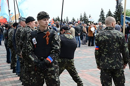 DPR Vostok Battalion members in Donetsk on Victory Day 2014 2014-05-09. Den' Pobedy v Donetske 077.jpg