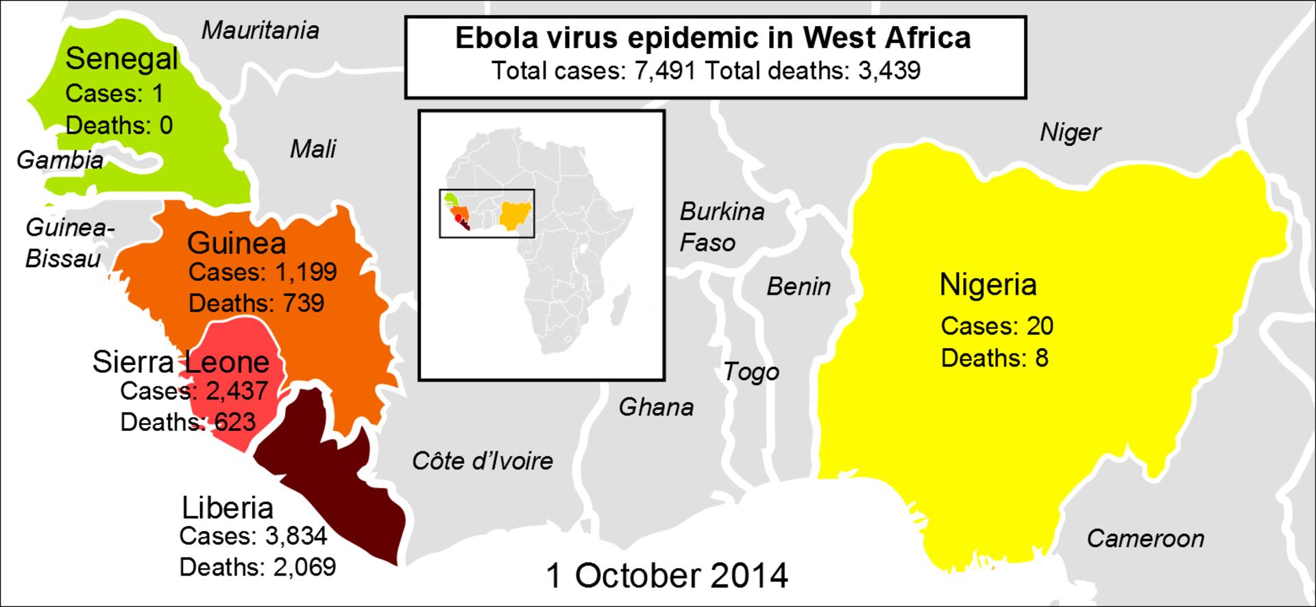 Ebola 2014 Outbreak Map