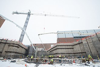 Facility for Rare Isotope Beams - In March 2015, workers poured nearly 3,600 cubic yards of concrete into the linear accelerator tunnel. Photo courtesy of MSU Communications and Brand Strategy.
