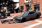 A 2010 Dodge Challenger, seconds after it was driven into a crowd of people in Charlottesville, Virginia, United States