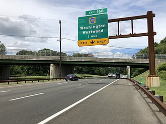 Washington Township, Bergen County, New Jersey - View north along the Garden State Parkway approaching the CR 502 exit in Washington Township