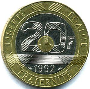Bi-metallic coin - 1992 French 20-franc tri-metallic coin