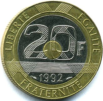 Bi-metallic coin - 1992 French 20-franc tri-metallic coin