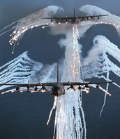 MC-130P Combat Shadow aircraft punching flares