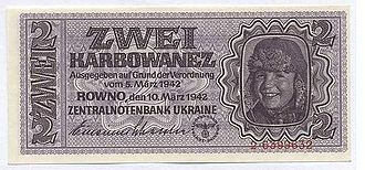 Reichskommissariat Ukraine - Banknotes denominated in karbovanets (karbowanez in German). The karbovanets replaced the Soviet ruble at par and was in circulation between 1942 and 1945. It was pegged to the Reichsmark at a rate of 10 karbovantsiv = 1 Reichsmark.