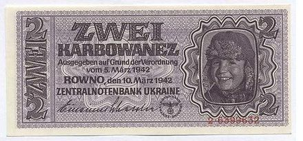 Banknotes denominated in karbovanets (Karbowanez in German). The karbovanets replaced the Soviet ruble at par and was in circulation between 1942 and 1945. It was pegged to the Reichsmark at a rate of 10 karbovantsiv = 1 Reichsmark. 2Karbowanez-1942 a.JPG