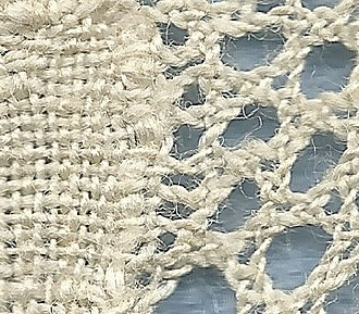 Mesh grounded bobbin lace - Image: 2 pair per pin