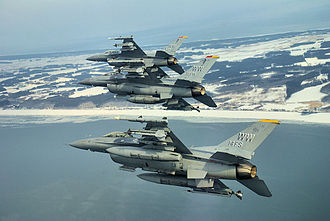 35th Operations Group - Formation of Block 50A F-16CJs, 90-0812 from the 14th Fighter Squadron identifiable.
