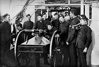 Nordenfelt gun - Royal Marines with a Nordenfelt 5-barrel rifle calibre guns, 1890.