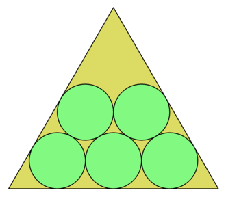 Packing problems - The optimal packing of five circles in an equilateral triangle