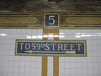 Fifth Avenue–59th Street (BMT Broadway Line) - Directional mosaics