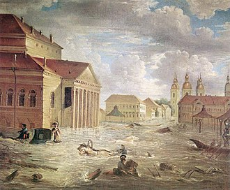 Mikhail Miloradovich - Bolshoi Kamenny Theatre during the flood of 1824. Handling flood damage and managing theatre were two best known sides of Miloradovich's administration.