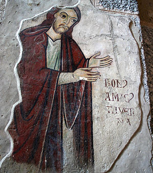 Titulus (inscription) - Image: 9653 Milano Sant'Ambrogio Bonamico Taverna in preghiera sec. XIII Foto Giovanni Dall'Orto 25 Apr 2007