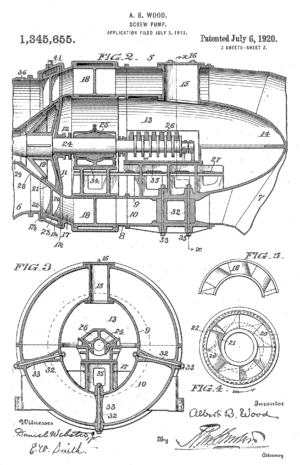A. Baldwin Wood - Patent diagram for Wood Screw Pump (page 2)