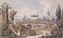 François-Joseph Bélanger: Garten des Hauses von Beaumarchais, das 1818 dem Canal Saint-Martin weichen musste (Quelle: Wikimedia)