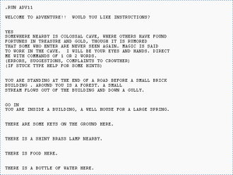 Audio game - Colossal Cave Adventure (1976), the earliest of a library initially spanning 8 years of TTS-enabled video games, was first made widely available as an audio game through MacInTalk in 1984.