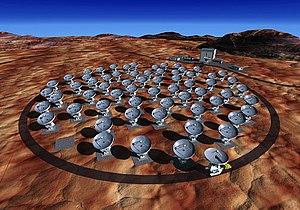 ALMAの予想完成図 80台のアンテナのうち、口径12mのアンテナ64台のみが描かれている。