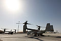 A U.S. Marine Corps MV-22B Osprey tiltrotor aircraft is refueled before a 2nd Marine Aircraft Wing (Forward) casualty evacuation drill at Camp Bastion, Helmand province, Afghanistan, March 31, 2013 130331-M-SA716-008.jpg