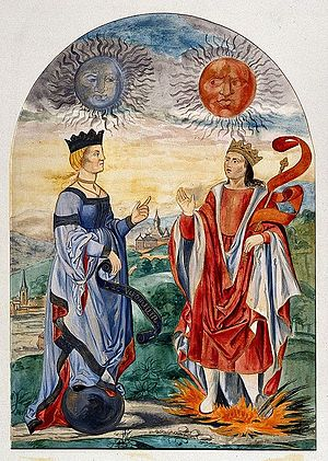 A moon above a queen dressed in blue, and a sun above a king Wellcome V0025630.jpg