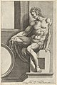 A naked man (Ignudo), seated facing left, holding a piece of fabric, after Michelangelo's 'The Last Judgment' fresco in the Sistine Chapel MET DP836918.jpg