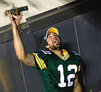2003 Insight Bowl - Aaron Rodgers, seen here wearing a Green Bay Packers jersey, was California's quarterback during the game.