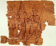 Worn papyrus fragment. Two men and a woman are drawn in reddish ink.