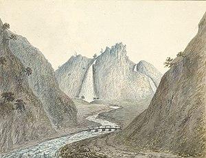 John Ingleby (painter) - Image: Aber Waterfall 1796. NLW PD9084