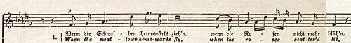Incipit vom Franz Abts Lied »Wenn die Schwalben heimwärts zieh'n«op. 39 Nr. 1. (Quelle: Wikimedia)