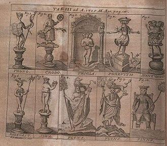 Radegast (god) - Ill. 6. Radegast in an illustration from Acta Eruditorum, 1715