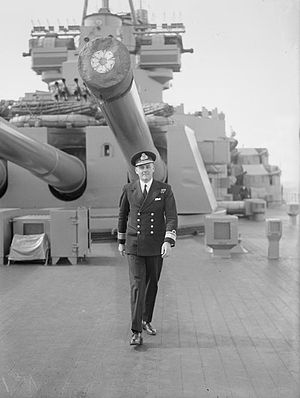 Douglas Fisher (Royal Navy officer) - Rear Admiral Fisher on the quarterdeck of HMS ''Duke of York'', October 1942