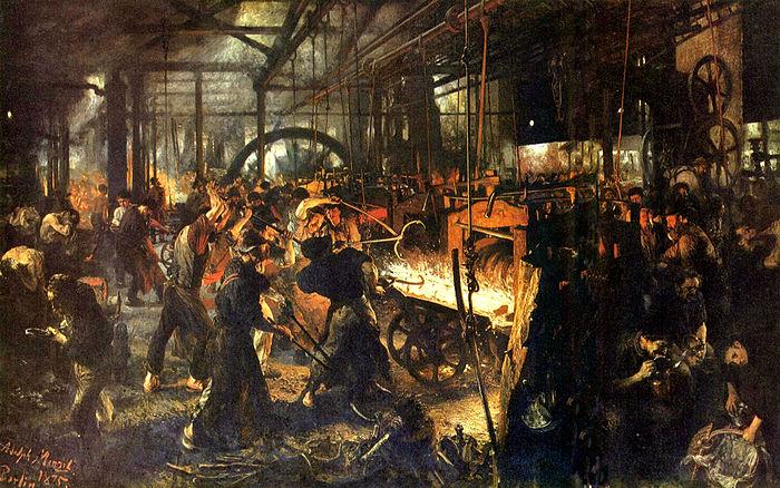 Werkomstandigheden in een ijzerwalsfabriek