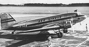Aer Lingus - Douglas DC-3 at Manchester Airport in 1948 wearing the first postwar livery