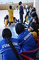 Afghan women participate in a basketball exhibition game as part of the International Youth Day celebration in Kabul, Afghanistan, Aug 110810-A-XM924-957.jpg