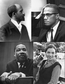 Prominent figures of the African-American Civil Rights Movement. Top left: W. E. B. Du Bois; Top right: Malcolm X; Bottom left: Martin Luther King, Jr.; Bottom right: Rosa Parks