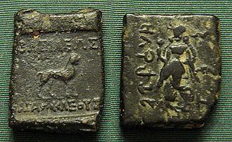 Christian Lassen - Lassen used the bilingual Greek-Brahmi coinage of Indo-Greek kings Agathocles and Pantaleon to correctly decipher the Brahmi script.