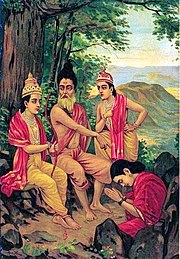 Ahalya (right bottom, seated in a red sari and rising from a stone, bows with folded hands to Rama (left) who is seated with Vishvamitra (centre) on a stone under a tree, in front of her. Lakshamana stands on the right.