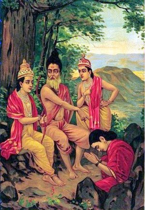 Ahalya - Ahalya emerges from her stone form, after being touched by Rama's foot. The motif of Ahalya being turned into stone first gets scriptural authority in the Puranas. (Early-20th-century print by Ravi Varma Press)