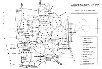 History of Ahmedabad - Fortified city of Ahmedabad in 1879